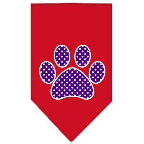 Purple Swiss Dot Paw Screen Print Bandana Red Small