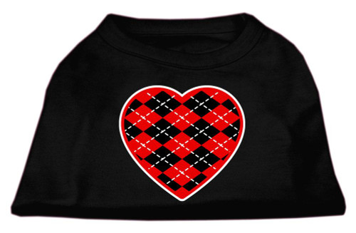 Argyle Heart Red Screen Print Shirt Black Sm (10)