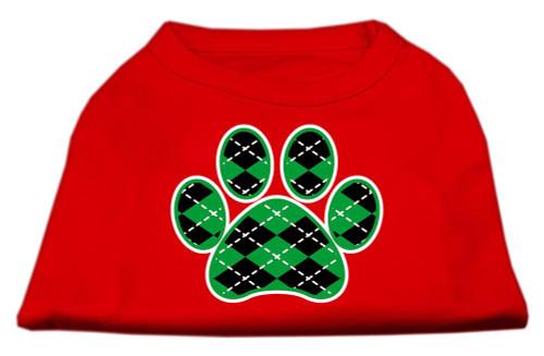 Argyle Paw Green Screen Print Shirt Red Med (12)