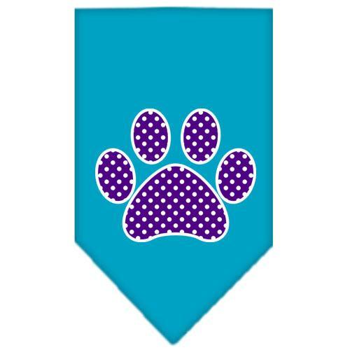 Purple Swiss Dot Paw Screen Print Bandana Turquoise Small