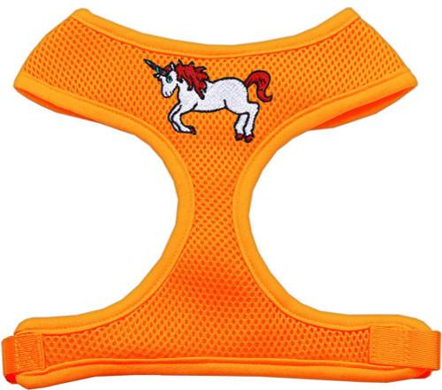 Unicorn Embroidered Soft Mesh Harness Orange Small