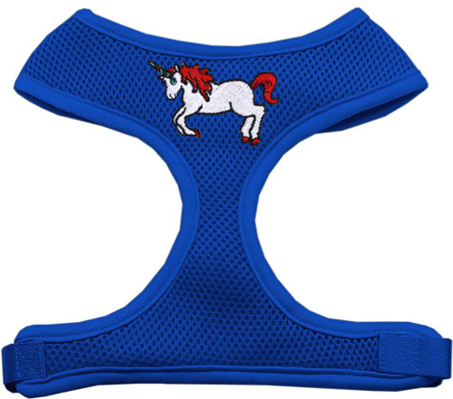 Unicorn Embroidered Soft Mesh Harness Blue Large