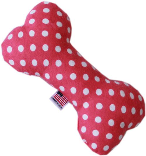 Swiss Dots 6 Inch Bone Dog Toy Bright Pink