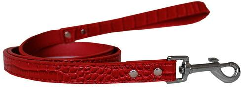 Plain Croc Leash Red 3/4'' Wide X 6' Long