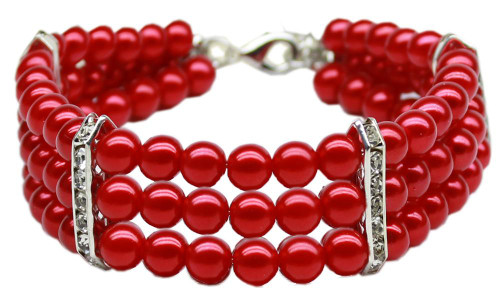 Three Row Pearl Necklace Red Sm (8-10)