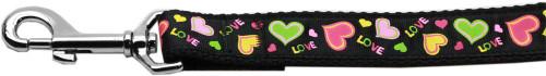 Neon Love Nylon Dog Leash 4 Foot Leash