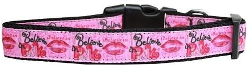 Believe In Pink Nylon Dog Collar Large