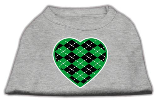 Argyle Heart Green Screen Print Shirt Grey Xs (8)