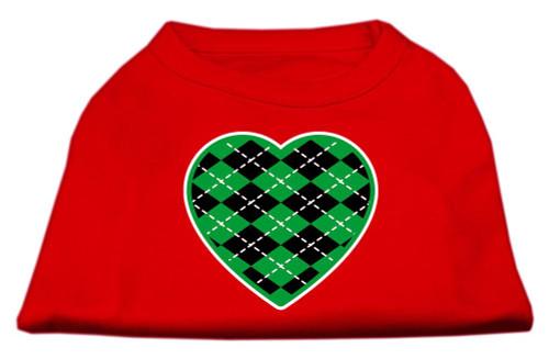 Argyle Heart Green Screen Print Shirt Red Xs (8)