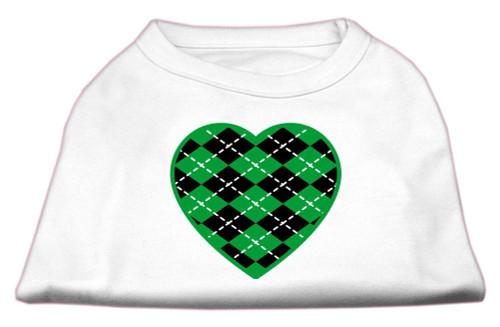 Argyle Heart Green Screen Print Shirt White Xs (8)