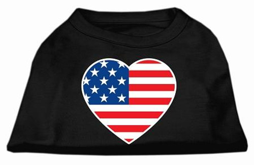 American Flag Heart Screen Print Shirt Black  Xxl (18)