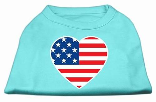 American Flag Heart Screen Print Shirt Aqua Xxl (18)