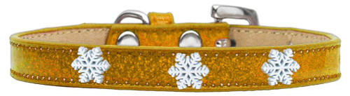 Snowflake Widget Dog Collar Gold Ice Cream Size 16