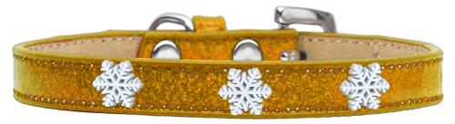 Snowflake Widget Dog Collar Gold Ice Cream Size 14