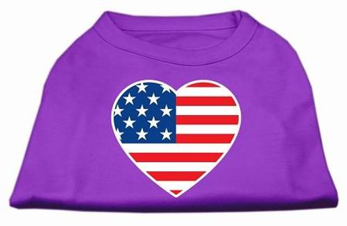 American Flag Heart Screen Print Shirt Purple Xxl (18)