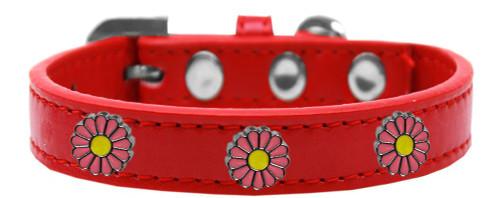 Pink Daisy Widget Dog Collar Red Size 16