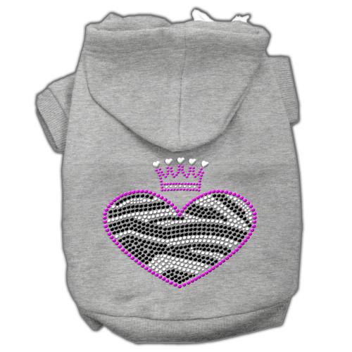Zebra Heart Rhinestone Hoodies Grey Xs (8)