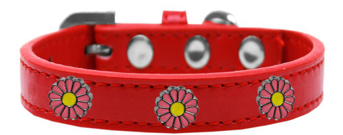 Pink Daisy Widget Dog Collar Red Size 20