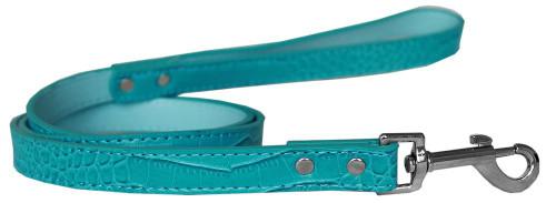 Plain Croc Leash Turquoise 3/4'' Wide X 4' Long