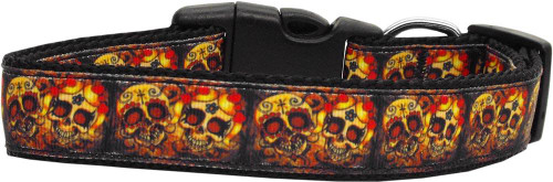 Skull Crossed Lovers Nylon Dog Collars Large