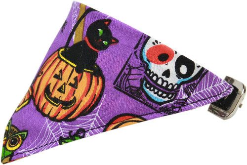 Purple And Pumpkins Bandana Pet Collar Black Size 18