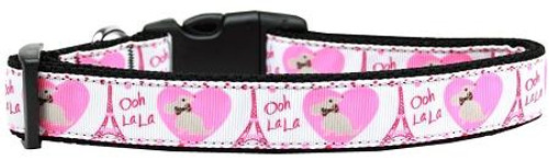 Oh La La Paris Nylon Dog Collar Medium