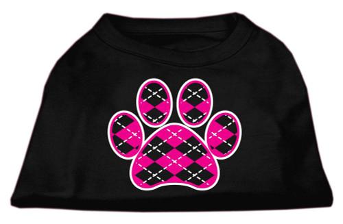 Argyle Paw Pink Screen Print Shirt Black Xl (16)