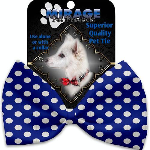 Bright Blue Swiss Dots Pet Bow Tie
