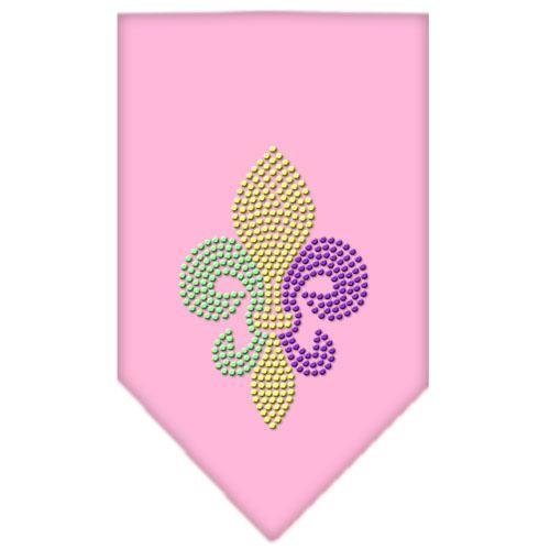 Mardi Gras Fleur De Lis Rhinestone Bandana Light Pink Small