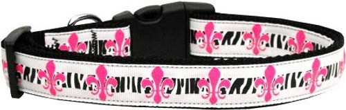 Pink Fleur De Lis Ribbon Dog Collars Medium