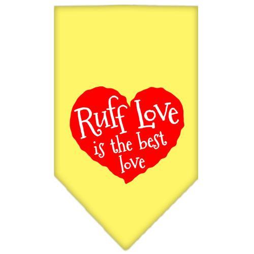 Ruff Love Screen Print Bandana Yellow Large