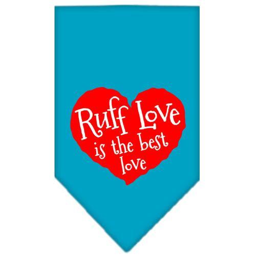Ruff Love Screen Print Bandana Turquoise Large