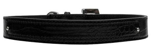 18mm  Two Tier Faux Croc Collar Black Large - 18-01 LGBKC