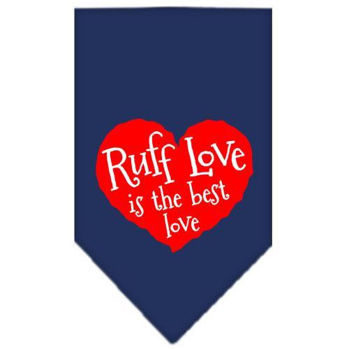 Ruff Love Screen Print Bandana Navy Blue Large
