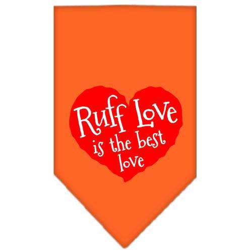 Ruff Love Screen Print Bandana Orange Large