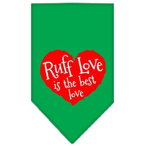 Ruff Love Screen Print Bandana Emerald Green Large