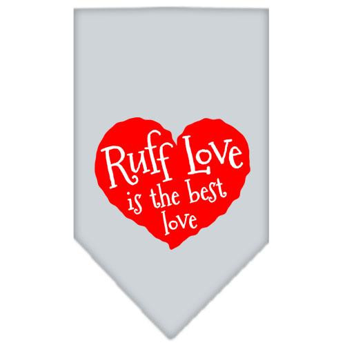Ruff Love Screen Print Bandana Grey Large
