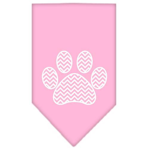 Chevron Paw Screen Print Bandana Light Pink Small