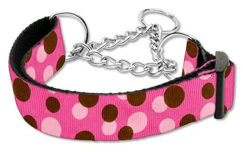 Confetti Dots Nylon Collar Martingale Bright Pink Large