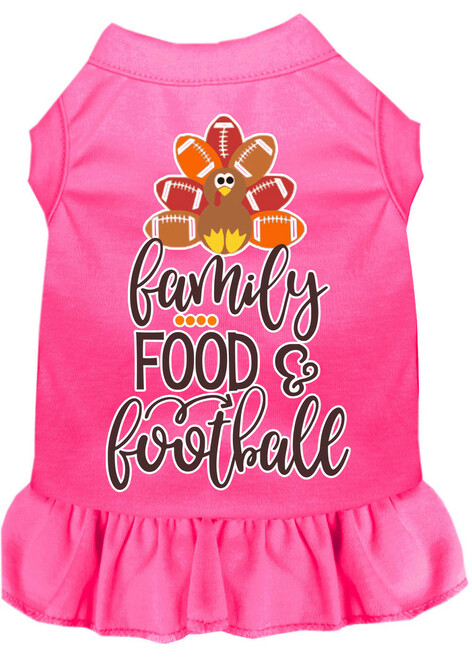 Family, Food, And Football Screen Print Dog Dress Bright Pink Med