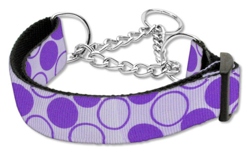 Diagonal Dots Nylon Collar Martingale Lavender Medium