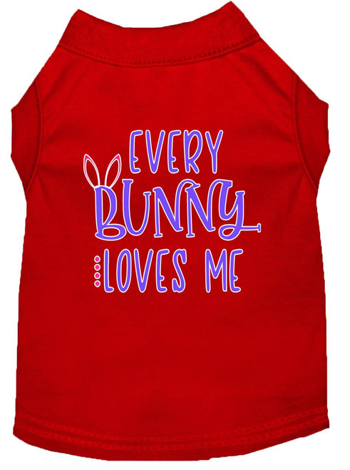 Every Bunny Loves Me Screen Print Dog Shirt Red Xs (8)