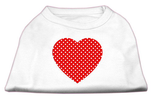 Red Swiss Dot Heart Screen Print Shirt White L (14)