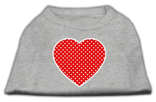Red Swiss Dot Heart Screen Print Shirt Grey Lg (14)