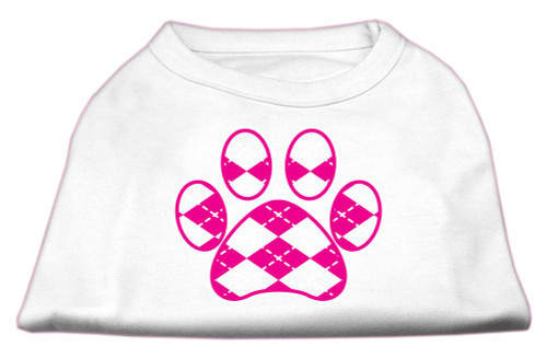 Argyle Paw Pink Screen Print Shirt White Xl (16)