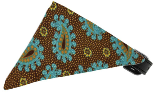 Brown And Blue Pretty Paisley Bandana Pet Collar Black Size 16