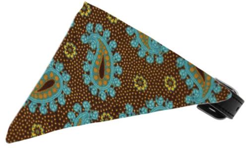 Brown And Blue Pretty Paisley Bandana Pet Collar Black Size 14