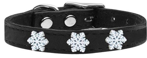 Snowflake Widget Genuine Leather Dog Collar Black 14