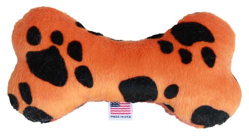 """6"""" Plush Bone Dog Toy Orange Paw"""