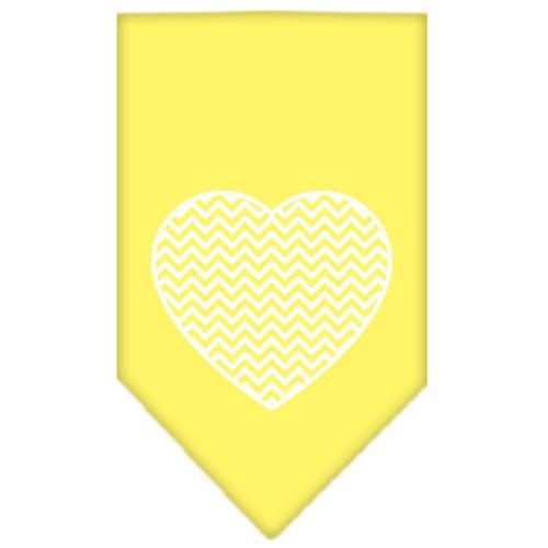 Chevron Heart Screen Print Bandana Yellow Large